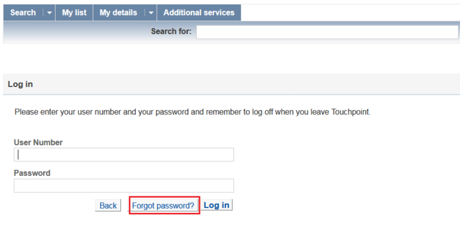 """Forgot password"" button on login page"