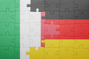 puzzle with the national flag of italy and germany