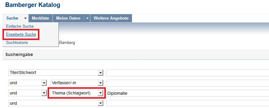Index term search in the Online Catalogue