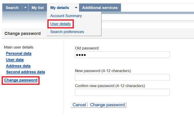 form to change password of library account