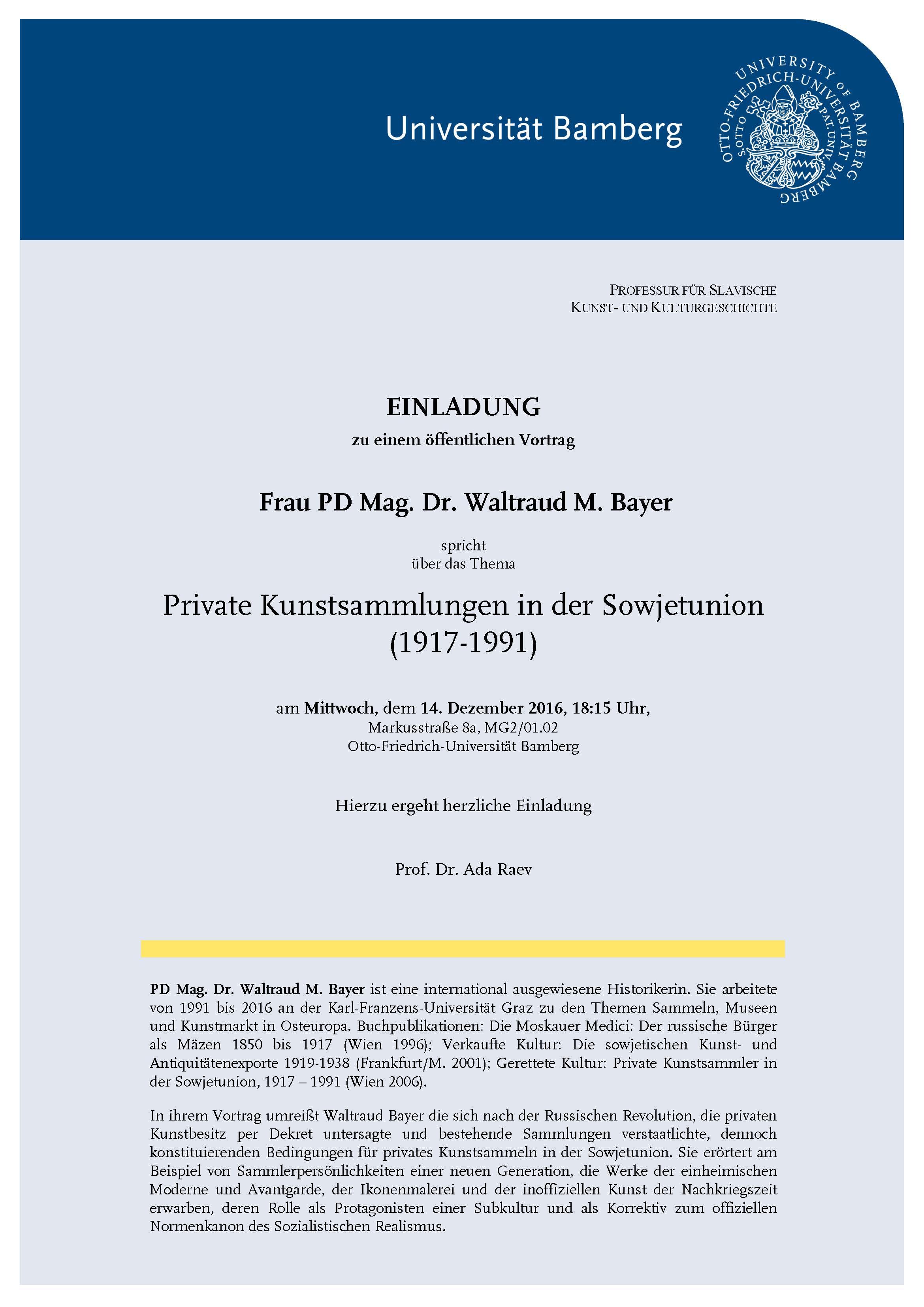 einladung zum gastvortrag - otto-friedrich-universität bamberg, Einladung