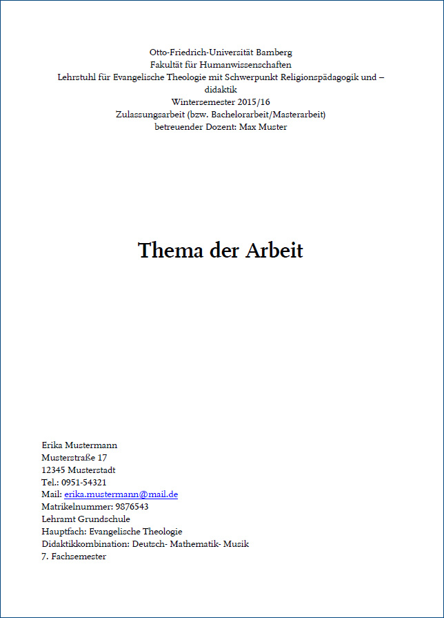 Abschlussarbeit Otto Friedrich Universität Bamberg